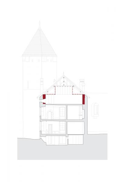 Cross section - MUSEE SUISSE DU JEU, Château de la Tour-de-Peilz, Switzerland